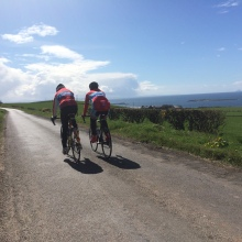 Velo Club Vitesse Riders on the back roads near West Kilbride, Scotland.